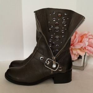 Vince Camuto Walt Moto grey leather boots studs